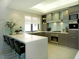 Gallery shaped kitchen